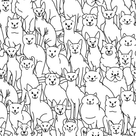 Cats seamless pattern vector black white domestic pedigree pets set contour sketch background. Illustration