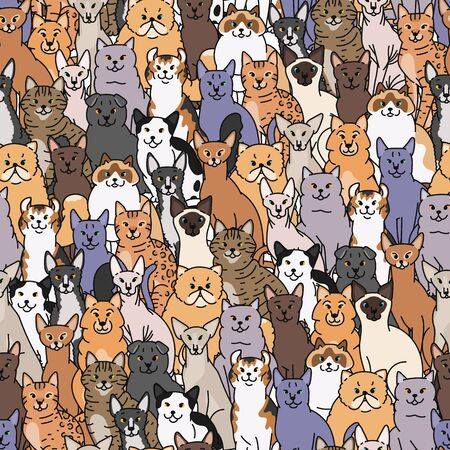 Cats seamless pattern vector domestic pedigree pets contour sketch background  イラスト・ベクター素材