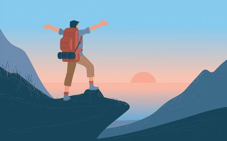 Man with backpack standing of mountain arms outstretched and looking on sea, sunrise. Concept of hiking, adventure tourism, travel and discovery. Explorer or traveller flat vector illustration