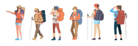 Girl with hiking backpack and trekking sticks. Young women explorer or traveller in sportswear. Adventure tourism, travel and discovery flat vector illustration