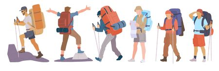 Man with hiking backpack and trekking sticks. Young guy explorer or traveller in sportswear. Adventure tourism, travel and discovery flat vector illustration. Ilustração