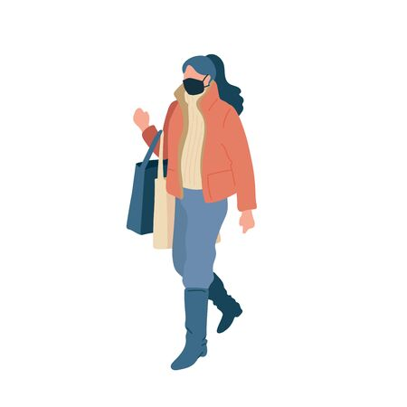 Walking young woman in surgical mask with shopping packages of season casual clothes winter, spring and autumn street style. Vector flat adult character cartoon isolated illustration.