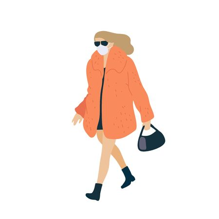 Walking woman in surgical mask and in fashionable fur coat with handbag. Vector flat adult character cartoon isolated illustration.