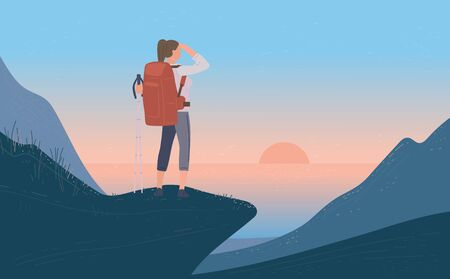 Woman with backpack standing his back of mountain and looking on sea, sunrise. Concept of hiking, adventure tourism, travel and discovery. Explorer or traveller flat vector illustration.