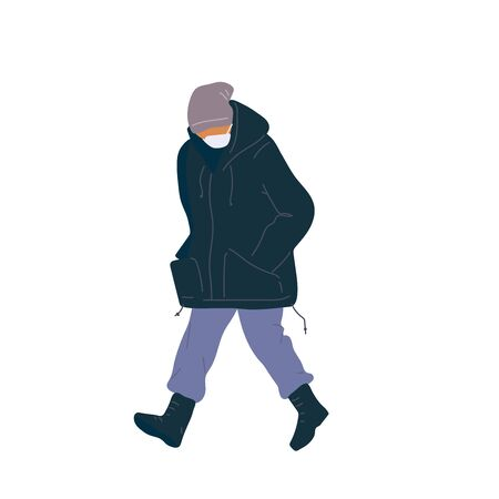 Walking man in surgical mask of season casual clothes winter, spring and autumn street style. Vector flat adult character cartoon isolated illustration.