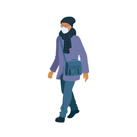 Walking man in surgical mask of season casual clothes street style. Vector flat adult character cartoon isolated illustration.