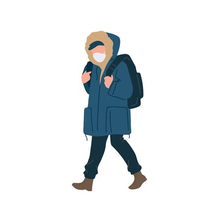 Walking man in surgical mask with backpack of season casual clothes winter, spring and autumn street style. Vector flat adult character cartoon isolated illustration.