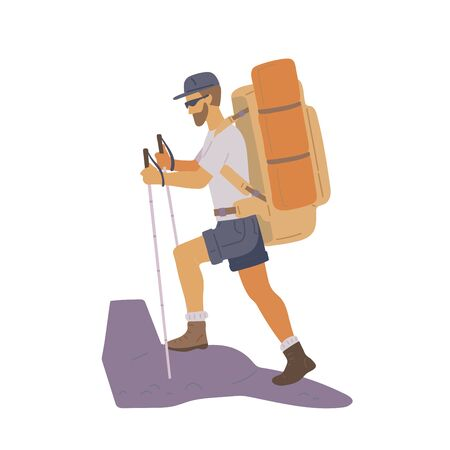 Man with hiking backpack and trekking sticks going up the mountain. Young guy explorer or traveller in sportswear. Adventure tourism, travel and discovery flat vector illustration.