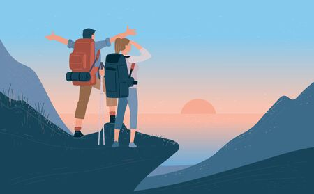 Travelers man and woman with backpack standing of mountain and looking sunrise over the sea. Concept of hiking, adventure tourism travel and discovery. Explorer flat vector illustration. Ilustração