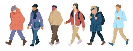 Crowd walking men of casual autumn clothes modern street style. Set vector flat cartoon characters colorful isolated illustration on white background