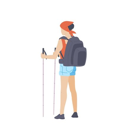 Girl with hiking backpack and trekking sticks stands with his back. Young woman explorer or traveller in sportswear. Adventure tourism, travel and discovery flat vector illustration