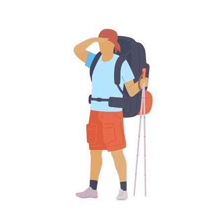 Man with hiking backpack and trekking sticks looking into the distance. Young guy explorer or traveller in sportswear. Adventure tourism, travel and discovery flat vector illustration. Ilustração