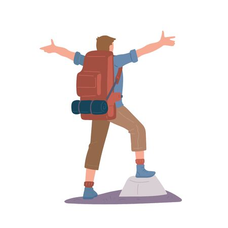 Man with hiking backpack and trekking sticks standing of mountain arms outstretched. Young guy explorer or traveller in sportswear. Adventure tourism, travel and discovery flat vector illustration.