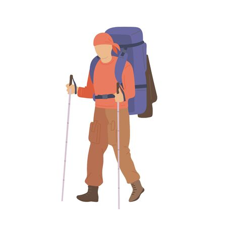 Man walking with hiking backpack and trekking sticks. Young guy explorer or traveller in sportswear. Adventure tourism, travel and discovery flat vector illustration