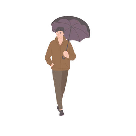 Man walking with umbrella in autumn casual clothes of urban style. Vector flat isolated character on a white background.