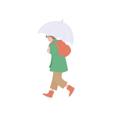 Girl with umbrella and backpack walking. Vector flat isolated character in autumn casual clothes of urban style on a white background.