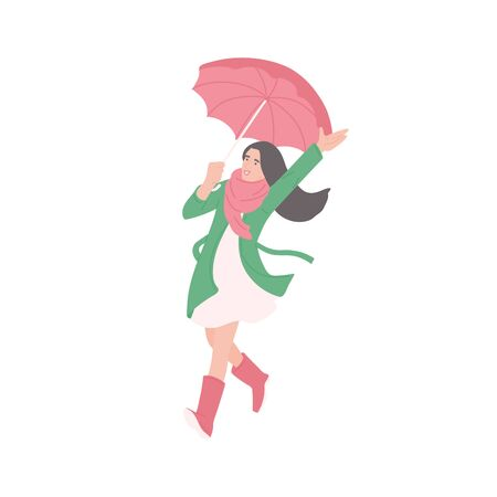 Young woman with umbrella enjoying the rain. Vector flat isolated character in autumn casual clothes of urban style on a white background.