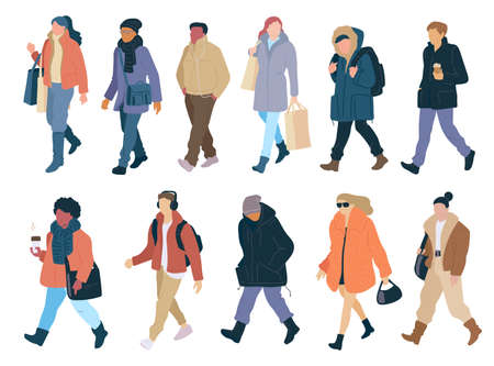 Set walking people of season casual clothes winter, spring and autumn street style. Vector flat cartoon collection of colorful isolated illustration.