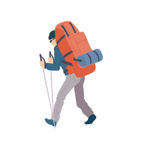 Man with hiking backpack and trekking sticks walking with his back. Young guy explorer or traveller in sportswear. Adventure tourism, travel and discovery flat vector illustration.