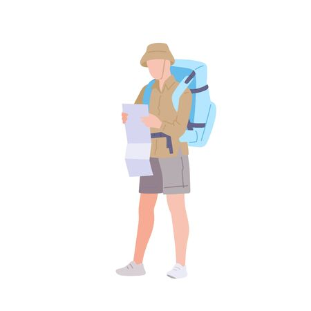 Man with hiking backpack explores the map. Young guy traveller in sportswear. Adventure tourism, travel and discovery flat vector illustration Ilustração