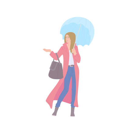 Woman in raincoat with umbrella and bag of urban style. Vector flat isolated character on a white background Illusztráció