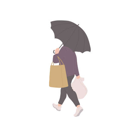 Man with umbrella and shopping bags in autumn casual clothes of urban style. Vector flat isolated character on a white background