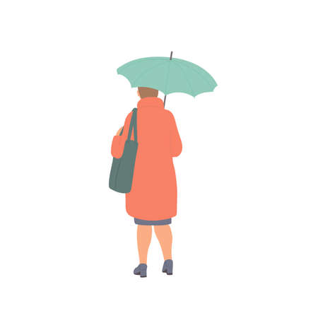 Woman with umbrella and bag stands with his back in autumn casual clothes of urban style. Vector flat isolated character on a white background