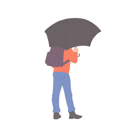 Man with umbrella and backpack stands with his back in autumn casual clothes of urban style. Vector flat isolated character on a white background