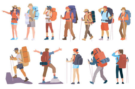 People with hiking backpack and trekking sticks. Young men and women explorer or traveller in sportswear. Adventure tourism, travel and discovery flat vector illustration