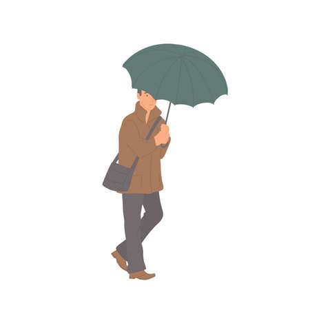 Man with umbrella in autumn casual clothes of urban style. Vector flat isolated character on a white background.