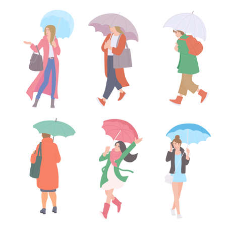Woman with umbrellas in rain in different autumn casual clothes of urban style. Vector flat set of isolated characters on a white background. Illusztráció