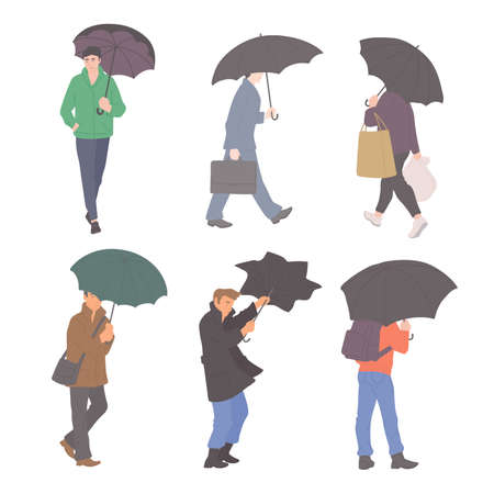 Man with umbrellas in rain in different autumn casual clothes of urban style. Vector flat set of isolated characters on a white background. Illusztráció