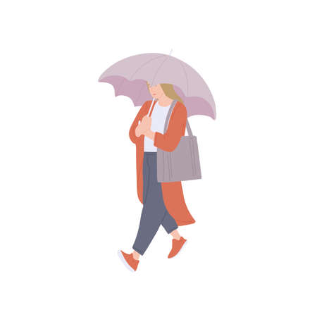Woman with umbrella and bag walking in autumn casual clothes of urban style. Vector flat isolated character on a white background.