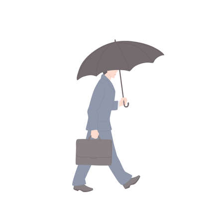 Man walk with umbrella in business suit with briefcase. Vector flat isolated character on a white background.