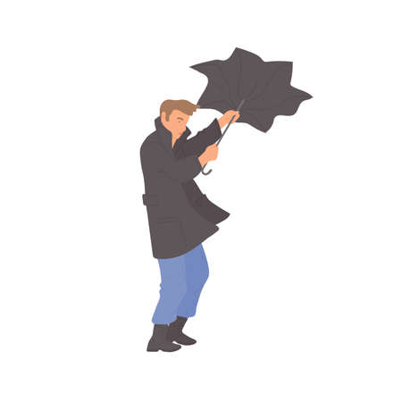 Man with umbrella blows away the wind. Vector flat isolated character in autumn casual clothes of urban style on a white background.