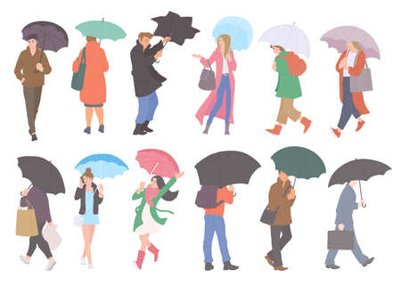People with umbrellas in rain in different autumn casual clothes of urban style. Vector flat set of isolated characters on a white background.