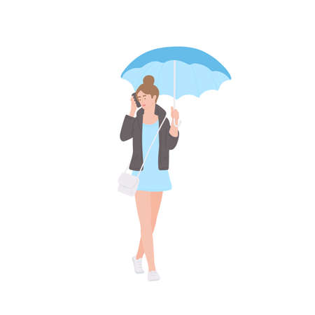 Girl with umbrella talking on the phone in autumn jacket and short dress of urban style. Vector flat isolated character on a white background.
