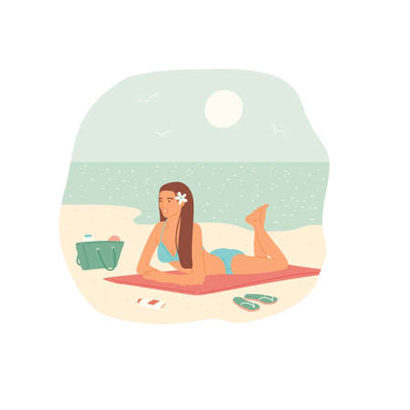 Girl in swimsuit sunbathing on beach sand against the background of sea and sky. Relaxing holiday on the coast. Vector flat cartoon illustration.
