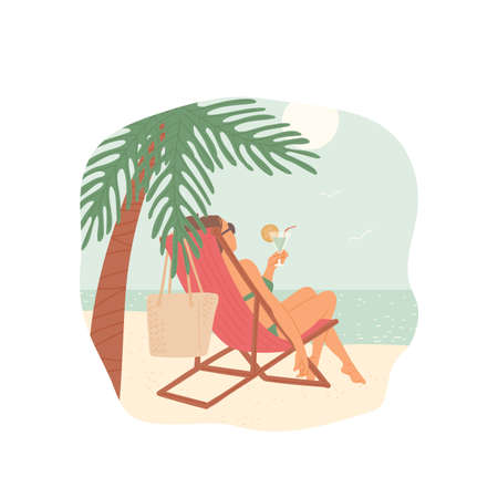 Girl on beach sitting on chaise longue under palm tree with cocktail in her hands and looks at the sea. Relaxing holiday on the coast. Vector flat cartoon illustration with background.