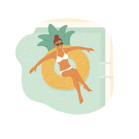 Girl in sunglasses and swimsuit swims on an rubber ring in swimming pool. Relaxing holiday. Top view of vector flat cartoon illustration with background. Illusztráció