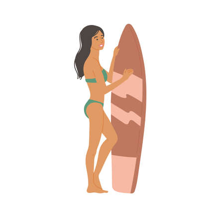 Girl in swimsuit with surfboard stands. Young female athlete leads a healthy active lifestyle. Vector flat cartoon isolated illustration.