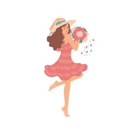 Girl in summer dress with bouquet dancing. Vector flat cartoon isolated illustration.