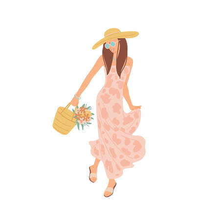 Girl in summer dress is walking. Young woman in sunglasses and hat. Vector flat cartoon isolated illustration. Illusztráció