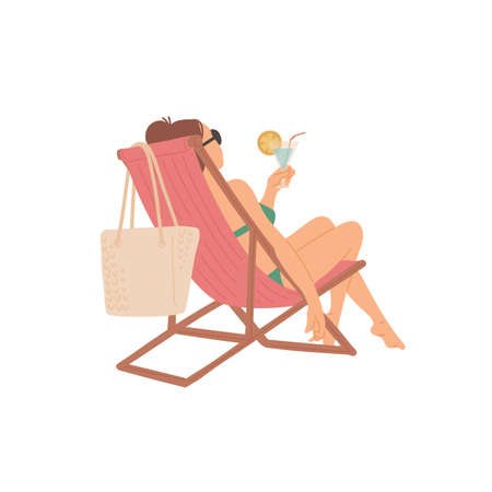 Girl sitting on chaise longue with cocktail in her hands. Relaxing holiday. Vector flat cartoon isolated illustration.