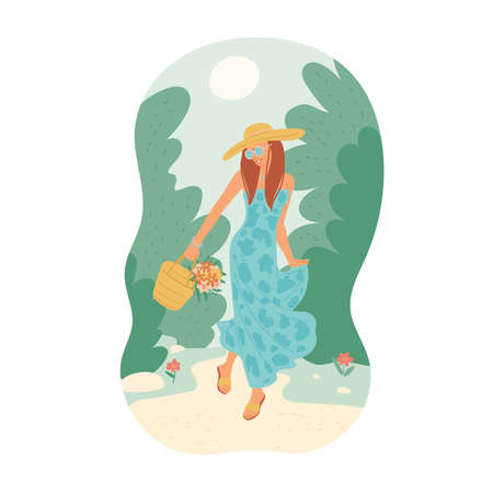 Girl in summer dress with bouquet is walking along path among trees against sunny sky. Young woman in sunglasses and hat. Vector flat cartoon illustration. Illusztráció