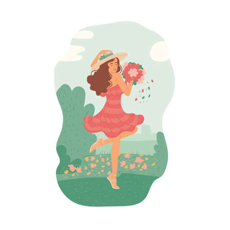 Girl in summer dress with bouquet dancing in meadow of flowers against sunny sky. Vector flat cartoon illustration.