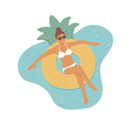 Girl in sunglasses and swimsuit swims on an rubber ring. Relaxing holiday. Top view of vector flat cartoon illustration. Illusztráció