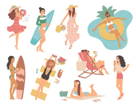 Girls in swimsuit and dress summer vacation. Women sunbathe on beach in deckchair, with surfboard, swim in pool on inflatable circle. Set vector isolated illustrations flat cartoon style.