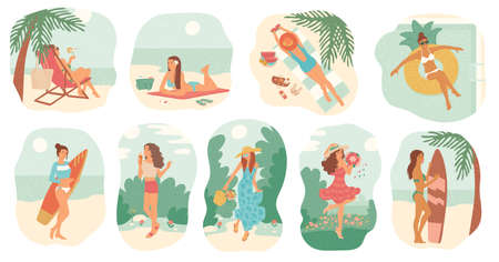 Girls in swimsuit and dress summer vacation. Women sunbathe on beach with surfboard, swim in pool on inflatable circle. Set vector isolated illustrations flat cartoon style.