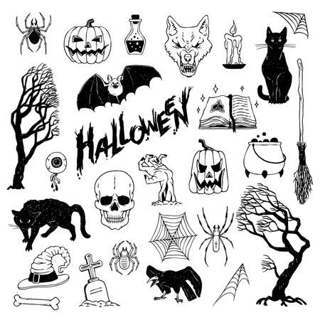Set for Halloween holiday. Vector black white sketch illustrations of mystical objects and creepy animals and creatures.